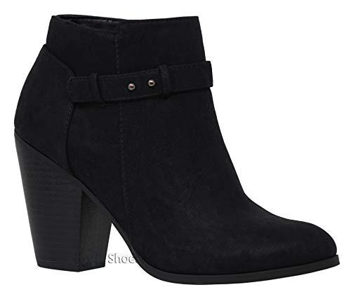 (MVE Shoes Women's Crisscross Buckle Bootie Side Zip High Stacked Block Heel Ankle Booties Black H 8.5)