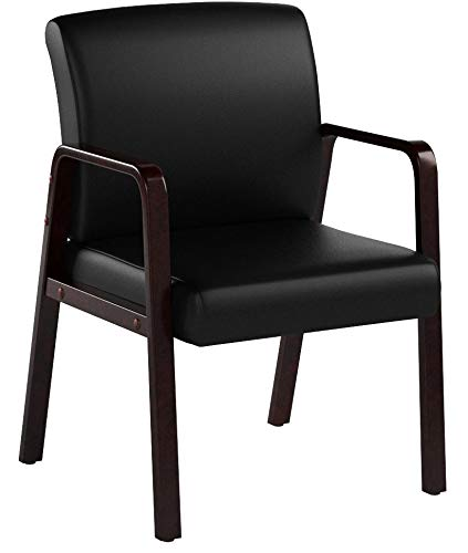 Alera ALERL4319M Reception Lounge Series Guest Chair, Mahogany/Black Leather by Alera (Image #15)