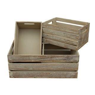 Red Hamper Set of 3 Oak Effect Wooden Open Top Storage