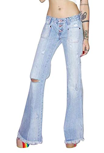 MK988 Womens Stylish Ripped Destroyed Fringes Flares Bell-Bottom Denim Jeans Pants Blue XXS ()