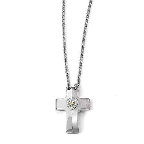 ICE CARATS 925 Sterling Silver Gold Plated Sapph. Magnetic Cross Religious Heart Adjusaintchain Necklace Pendant Charm Chain Adjustable Crucifix Gemstone Fine Jewelry Ideal Gifts For Women Gift Set -