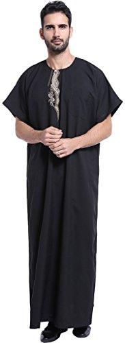 d2e95726aca7 Ababalaya Men's Short Sleeve Scoop Neck Embroidered Muslim Thobes Dishdasha  Easter Wear, Black, XXXL