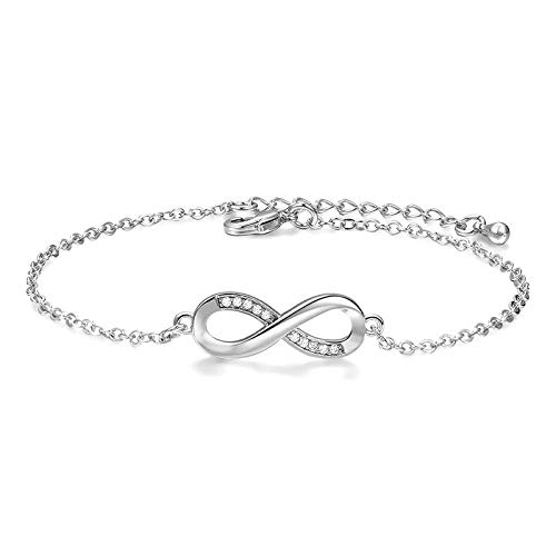 Digital Titanium Bracelet - QiLuo Women's Bracelet Fashion 8-shaped Crystal Bracelet Lucky Digital Zircon Jewelry Korean Simple