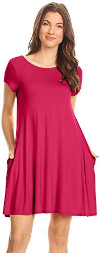 Simlu Short Sleeve Long Tunic Top Dress with Pockets, Tshirt Dress for Women, Fuchsia, -