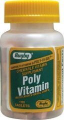 [3 PACK] RUGBY® POLY VITAMIN FRUIT FLAVORED CHEWABLE ANIMAL SHAPES VITAMIN SUPPLEMENT 100CT (PACK OF 3) *COMPARE TO THE SAME ACTIVE INGREDIENTS FOUND IN POLY-VI-SOL® & SAVE!*
