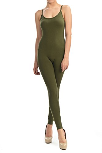 - 31BfHzl iRL - JJJ Fashion Jjj Women Catsuit Cotton Lycra Tank Spaghetti Strapped Yoga Bodysuit Jumpsuit S-Plus