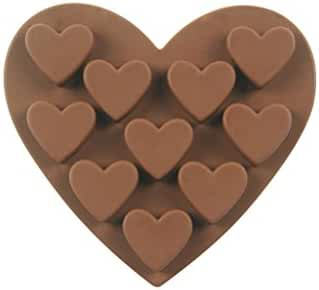 10 Cavity Heart Cake Silicone Mold Chocolate Candy Baking Mould