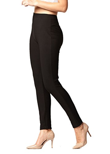 Premium Women's Stretch Ponte Pants - Dressy Leggings with Butt Lift - Black - Small/Medium Belted Bootcut Relaxed Jean