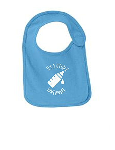 Its 5 AM Somewhere Funny Infant Jersey Bib Aquatic Blue One (Jersey Boy Wine)