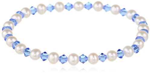 (White Freshwater Cultured Pearl and Crystallized Swarovski Elements September Birthstone Sapphire Colored Bicone Stretch Bracelet,)