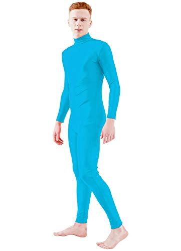 Ensnovo Adult Lycra Spandex Turtleneck Long Sleeve One Piece Unitard Bodysuit Dancewear Blue, XL -