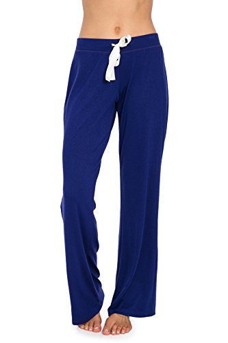 VDRNY Comfy Stretch Solid Flared Pajama Pants for Women (Navy Blue, L)