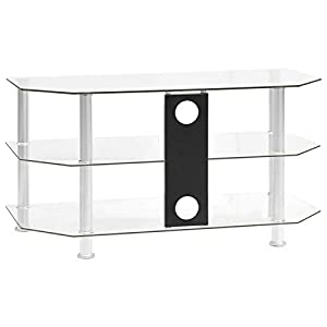 Festnight Meuble TV en Verre Meuble TV Salon Transparent 96x46x50 cm