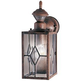 Heath Zenith Motion Sensor Mission Lantern Outdoor A19 14-13/16 In. Rustic Brown Uses 1 Med Base Bx