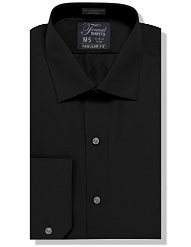 Luxe Microfiber Mens Regular Fit Solid Dress Shirt, Spread Collar - Style Denny Black