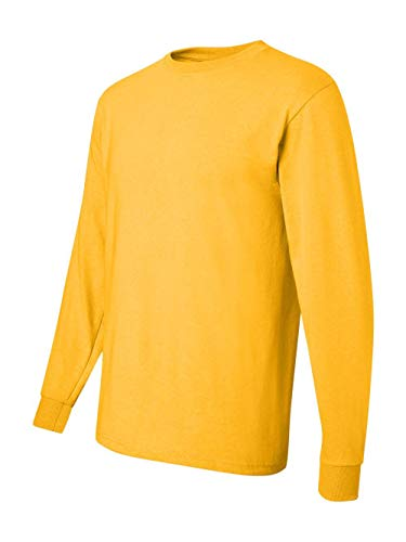 Jerzees 5.6 oz, 50/50 Heavyweight Blend Long-Sleeve T-Shirt - ISLAND YELLOW - SMALL Blend Long Sleeve Tee