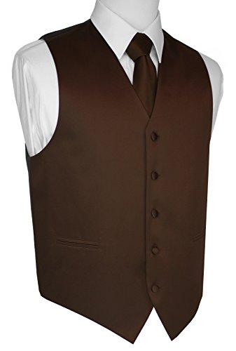 Brand Q Italian Design, Men's Tuxedo Vest, Tie & Hankie Set - Chocolate - (Chocolate Brown Italian)
