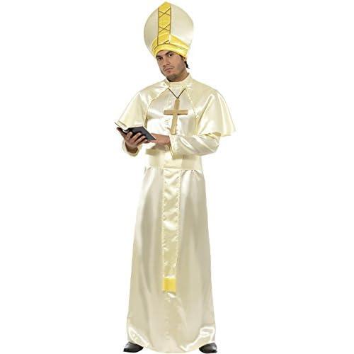 Smiffys Déguisement Homme Pape, Robe, Ceinture, Chapeau, Collier et Cape, Saints and Sinners, Serious Fun, Taille M, 36376