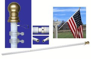 7ft Spinner Flagpole - White Aluminum - Pole Only