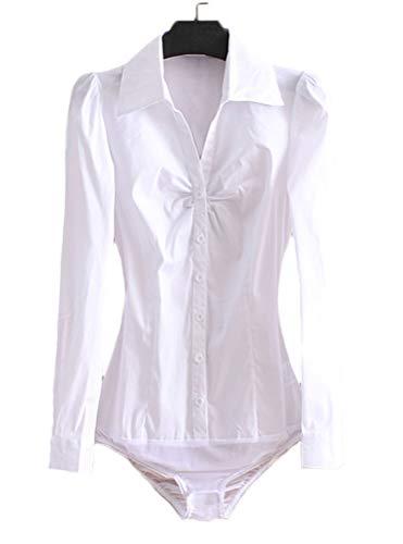 Soojun Womens Essential Long Sleeve Button Down Shirts Bodysuit, (Size 2, 15-White)