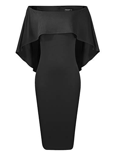 Women Elegant Sleeveless Off Shoulder Midi Batwing Cape Pencil Dress Black XL