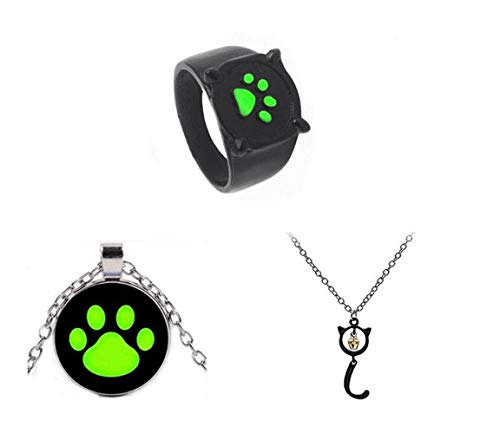 Bo Feng 3Pcs Miraculous Ladybug Black Cat Noel Necklace Rings Cat Noir Ring Girl Pendant ()