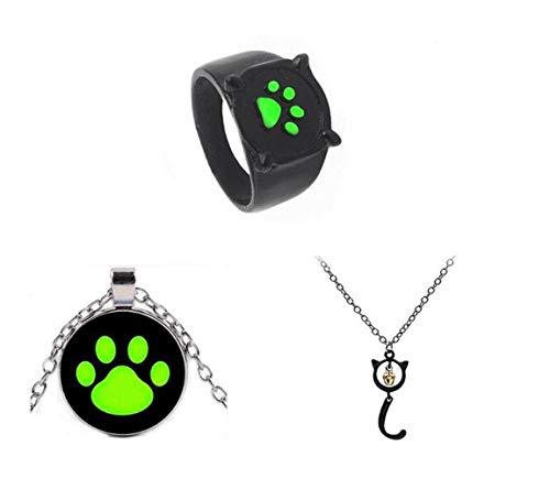 Bo Feng 3Pcs Miraculous Ladybug Black Cat Noel Necklace Rings Cat Noir Ring Girl Pendant