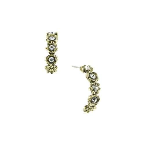 (1928 Jewelry Gold-Tone Floral Bouquet Crystal Half Hoop Earrings)