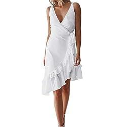 Tangsen Women V Neck Solid Ruffle Wrap Dress Sleeveless Asymmetric Summer Fashion Sundress Holiday Dresses White L
