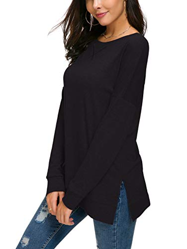 Long Sleeve Split Neck Sweater - HIYIYEZI Women's Fall Long Sleeve Side Split Loose Casual Pullover Tunic Tops (Small, Black)