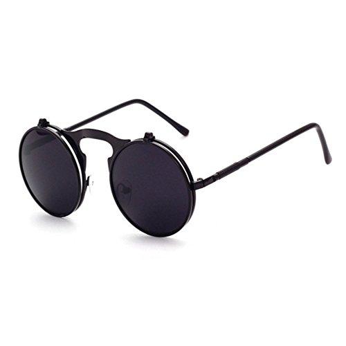 Aoligei Lunettes de soleil rétro steampunk métal Flip flip lunettes de soleil et lunettes de mode des femmes rondes boîte miroir Prince B