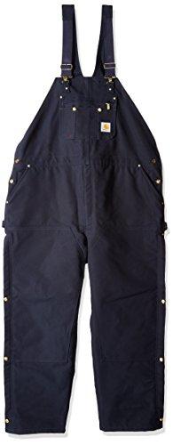 (Carhartt Men's Big & Tall Quilt Lined Zip To Thigh Bib Overall Long Sleeve, Dark Navy, 52W  X 32L)