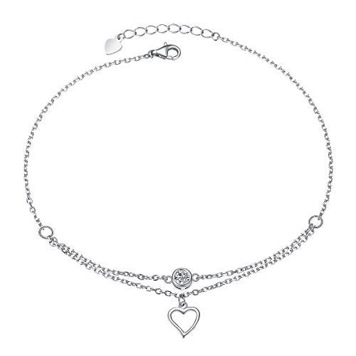 Heart Anklet for Women S925 Sterling Silver Adjustable Ankle Foot Bracelet 10 Inch ()