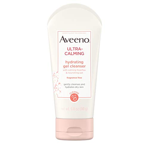 Aveeno Ultra-Calming Hydrating Gel Facial Cleanser with Calming Feverfew and Nourishing Oat, Face Wash for Dry and Sensitive Skin, Fragrance-Free and Non-Comedogenic, 5 oz (Best Face Wash For Radiant Skin)