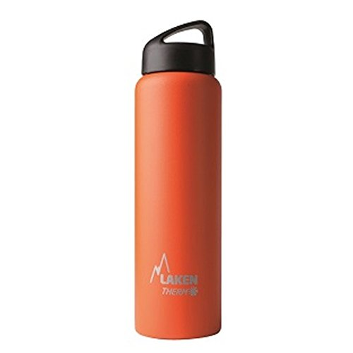 Laken Thermo Classic Vacuum Insulated Stainless Steel Wide Mouth Water Bottle with Screw Cap, 34 Oz, Orange