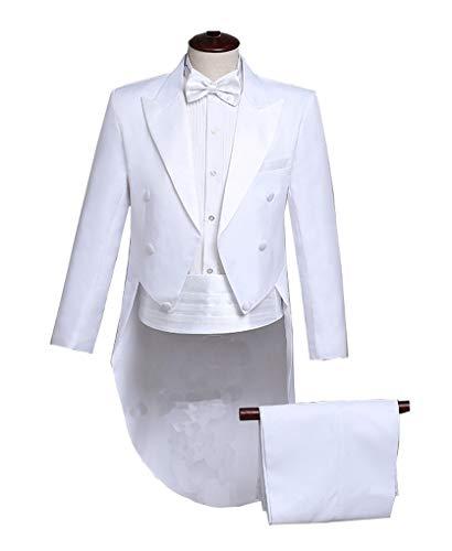 Qinni-shop Men Formal Magic Show Costume Tailcoat Jacket Tuxedo Suits 4 Piece (White, S)]()