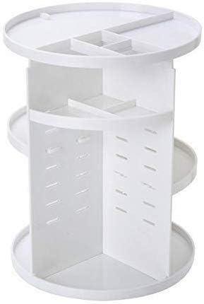 XWYSSH主催 化粧品収納ボックスは、360度回転オーガナイザーボックスSotrage化粧ジュエリーブラシホルダ口紅ケース女性Destktopドレッサー主催メイクアップ XWYSSH (色 : 白い)