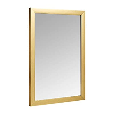 "AmazonBasics Rectangular Wall Mirror - 20"" x 28"", Standard Trim, Brass - 20x28 inch rectangular mirror with standard trim for wall hanging Ideal for entryways, living rooms, bedrooms, bathrooms, and more Sleek, modern design that fits in with a wide variety of interiors - mirrors-bedroom-decor, bedroom-decor, bedroom - 31BfY ljdaL. SS400  -"