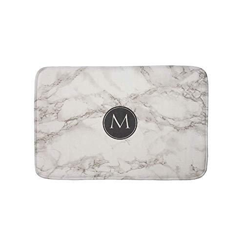 Usicapwear Elegant Marble Design Monogram Doormat Bath Door Mat 31.4 X 19.6 Inch(80x50cm) ()