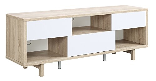 Convenience Concepts Designs2Go Newport Ventura 60-Inch TV Stand, Weathered White/White - Available in multiple finishes 3 drawers for concealed storage 3 open compartments for media or collectibles - tv-stands, living-room-furniture, living-room - 31BfZmr5HlL -