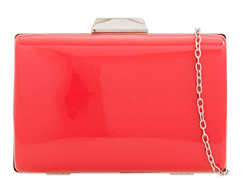 Metallic KD2226 Coral Women's Clutch Handbag Bag Ladies Compact Hard Evening Patent Box 4q6OUO