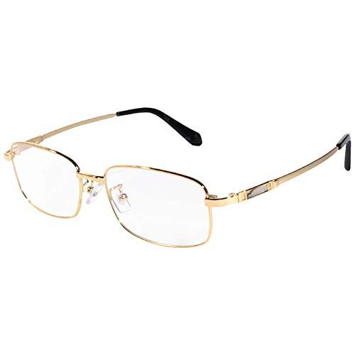 Hd Resin Reading Glasses, Aspherical Blue Light Lens Titanium Alloy Frame Metal Hinge Reading Glasses Golden Reading Glasses,+1
