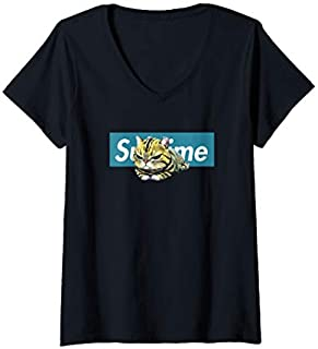 Womens Adorable Cat , Cute Sublime Cat  in a blue box V-Neck T-shirt | Size S - 5XL