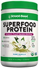 Plant-Based Organic Superfood Protein Zero Carb Plant-Based Protein- Raw Food Protein Powder All Natural Formula, Vegan, Sugar Free, Pure Vanilla, Vegan, Non-GMO 20 Servings