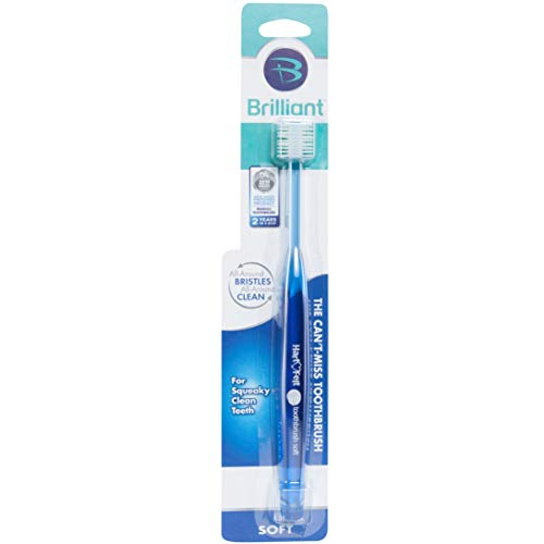 Toothbrush Micro - Brilliant Soft Toothbrush for Adults - With Over 14,000 360 Degree Micro-Fine, Rounded-Tip Bristles for Easy & Effective Cleaning, Blue, 1 Count