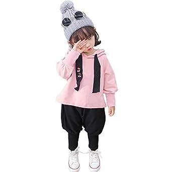 b42367f582ff6 RoRykon 子供服 女の子 長袖 韓国風 パーカー+ロングパンツ 2点セット 無地 トップス