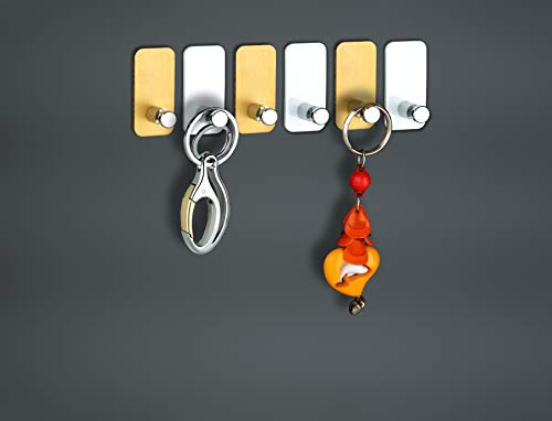 PSM A04C06 Heavy Duty Adhesive Aluminium and Abs Decorative Sticky Key Holder (H50 x W25 x D23 mm) Pack of 6 Pcs.