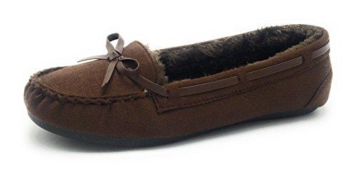 Las Mujeres Abrigan El Invierno Cómodo Clásico Forro De Piel Mocasín Slip En Zapatos Planos Marrón C-116