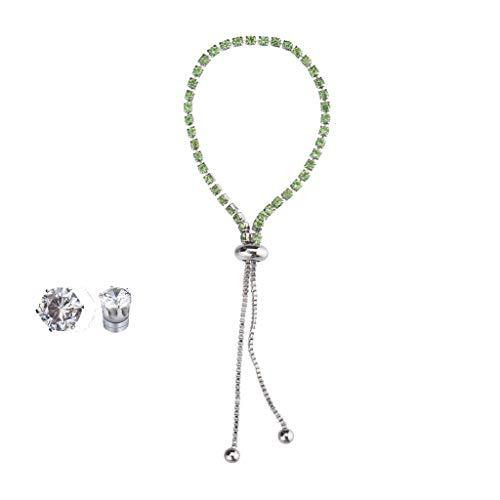 Cathy Clara Fashion New Popular Diamond Rhinestone Bracelet Earrings Set Metal Ladies Jewelry Pendants Adjustable for Girls Ladies Bangles ()