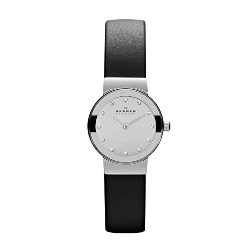 Skagen Women's 358XSSLBC Freja Black Leather Watch Watch Chrome Leather Band